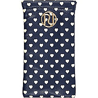 Navy heart print sunglasses case