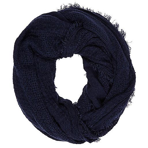 Navy gauze laddered snood