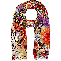 Red floral and animal print scarf