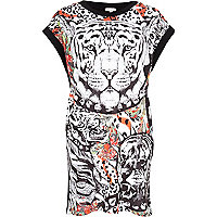 Black Tiger print oversized t-shirt