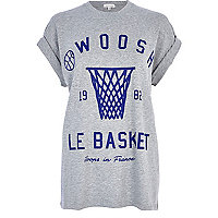 Grey Swoosh basketball print t-shirt