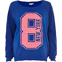 Blue New York 8 print dolman top