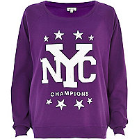 Purple NYC champions print dolman top