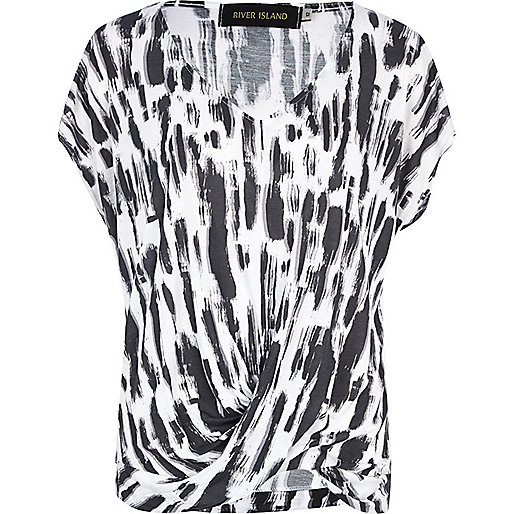 White abstract print drape front top