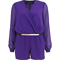 Purple metal plate belt wrap playsuit