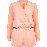 Light pink metal plate belt wrap playsuit