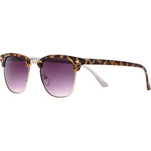 Brown tortoise half frame retro sunglasses