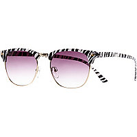 Black zebra print retro sunglasses