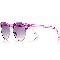 Bright pink transparent retro sunglasses