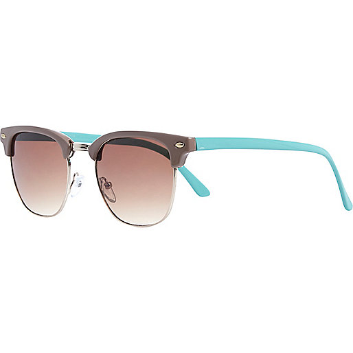 Light brown colour block retro sunglasses