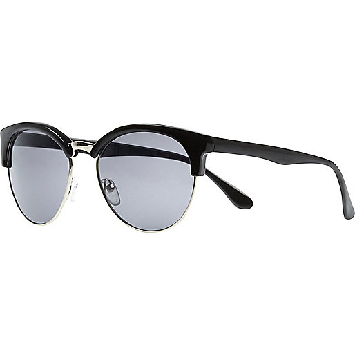 Black cat eye half frame retro sunglasses