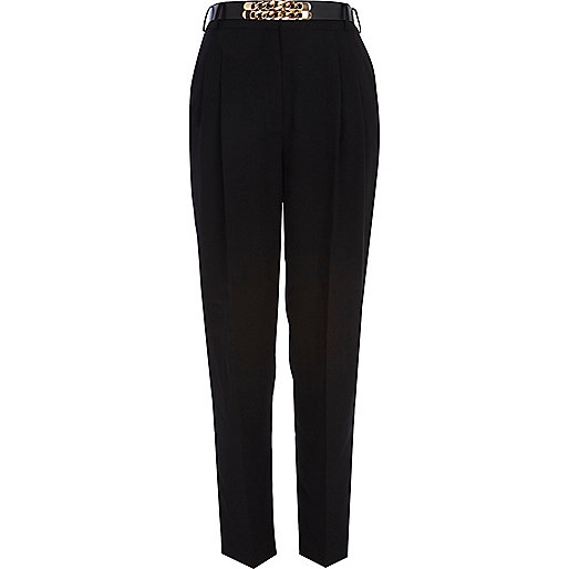 Black high waisted chain belt trousers