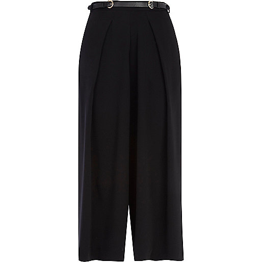 Black wide leg belted cropped trousers