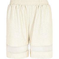 Cream perforated mesh panel long shorts