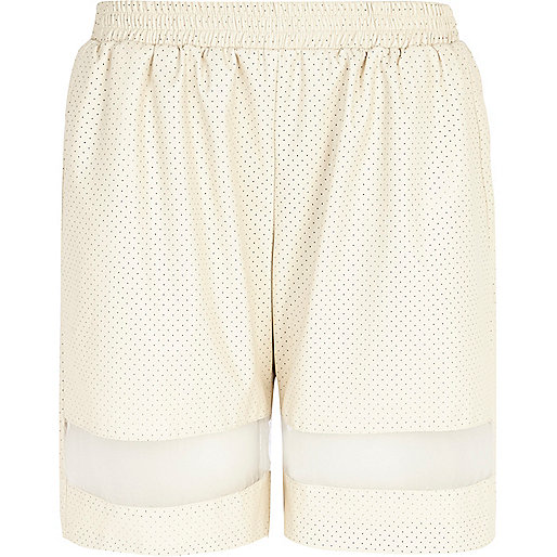 Cream perforated mesh panel long shorts
