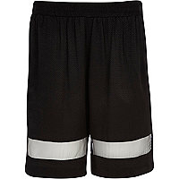 Black jacquard mesh panel long shorts