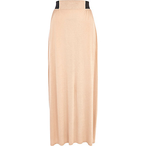 Beige side split maxi skirt