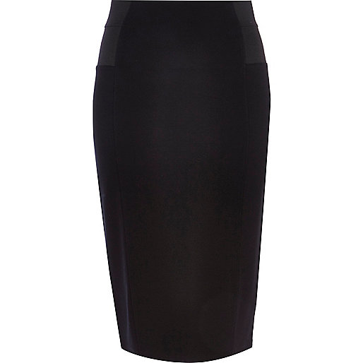 Black elastic panel tube skirt