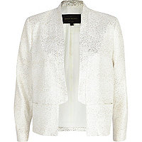 White sparkle inverted collar blazer