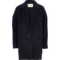 Navy drawn wool-blend oversized coat