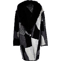 Black textured knit faux fur collar coat