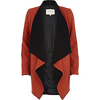 Dark orange melton waterfall coat