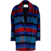 Red and blue check oversized wool coat