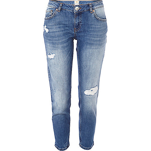 Light wash ripped Eva girlfriend jeans