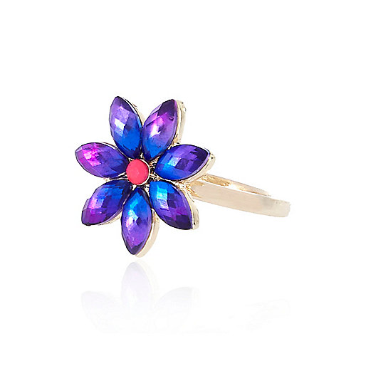 Gold tone rainbow flower ring