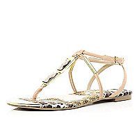 Pink gem stone printed sole sandals