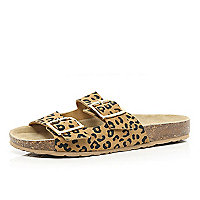 Brown leopard print double strap sandals