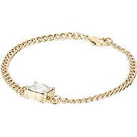 Gold tone chain stone bracelet
