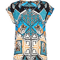 Blue Tiger tile print woven t-shirt