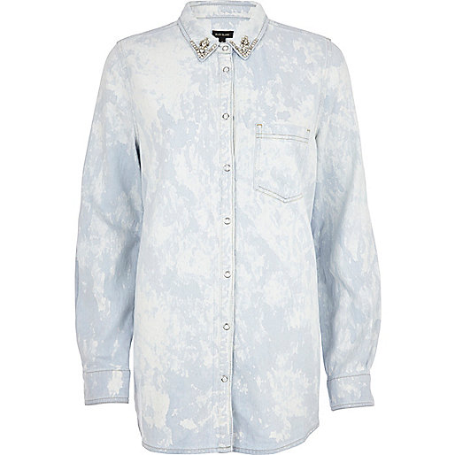 Light wash tie dye denim shirt