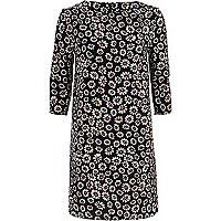Black daisy print shift dress