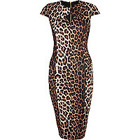 Brown leopard print cut out pencil dress