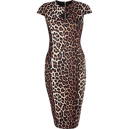 Brown leopard print cut out pencil dress