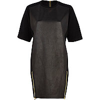 Black cracked leather-look t-shirt dress