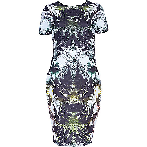 Green leaf print textured column dress