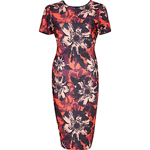 Red floral print textured bodycon dress