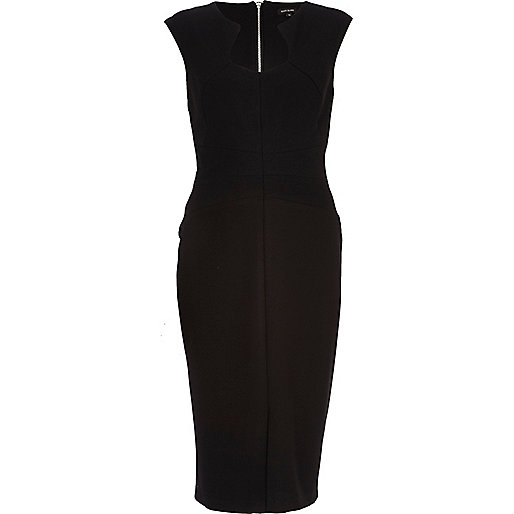 Black cut out neckline bodycon dress