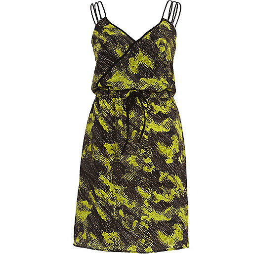 Green python print wrap dress