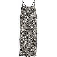 Black animal print double layer slip dress