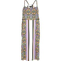 Purple border print double layer slip dress