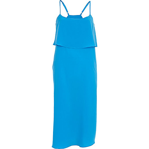 Blue double layer slip dress