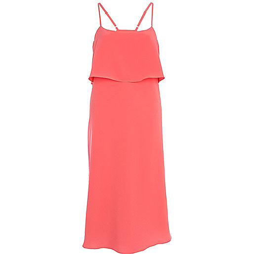 Coral double layer slip dress