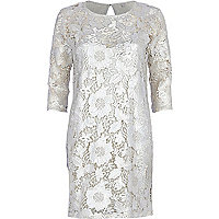 Silver lace bodycon dress