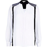 White colour block collarless blouse