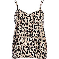 Brown animal print V neck cami top