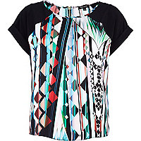 Black kaleidoscope print t-shirt